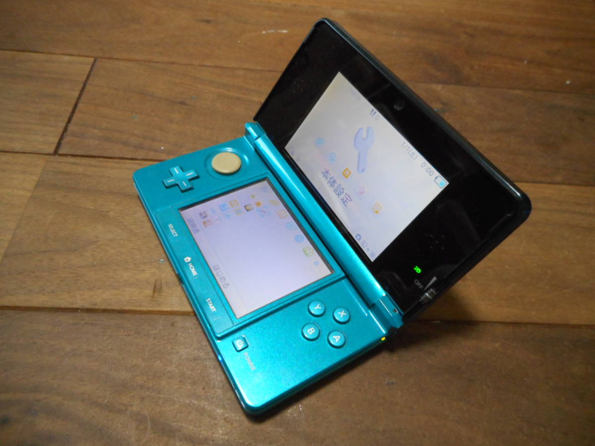 ①【送料無料】完動品液晶綺麗3DS本体アクアブルーVer9.9.0-26J【動作確認済み1円スタート】