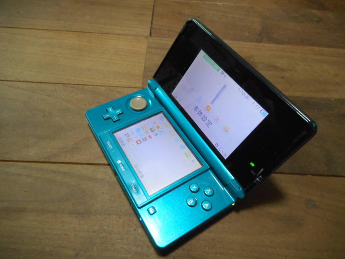 ①【送料無料】完動品3DS本体アクアブルーVer11.6.0-39J【動作確認済み1円スタート】