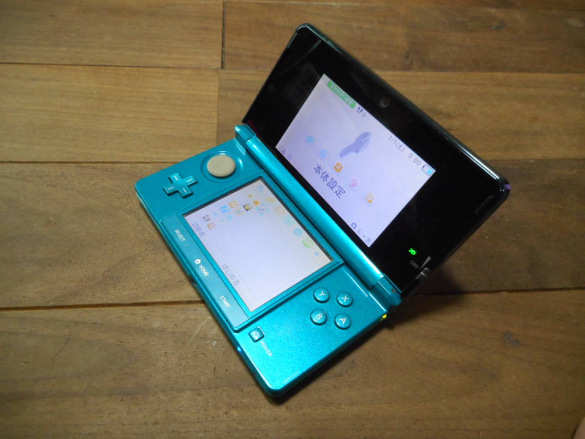 ②【送料無料】完動品3DS本体アクアブルーVer11.2.0-35J【動作確認済み1円スタート】