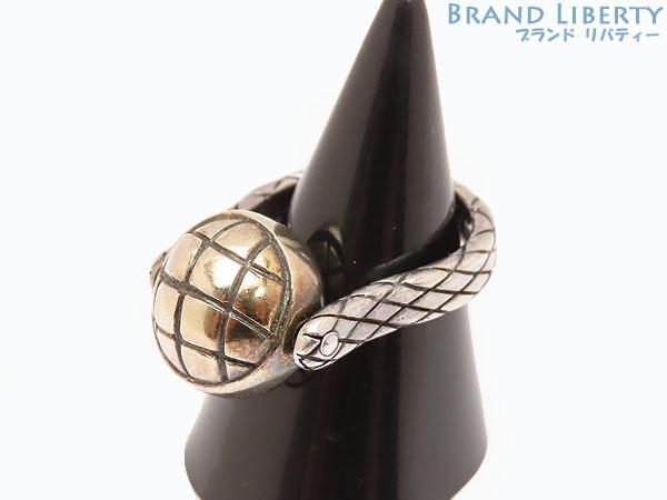 美品 ボッテガ ヴェネタ イントレチャート ボール シルバー リング 指輪 ゴールド シルバー925 AG925 167510_画像2