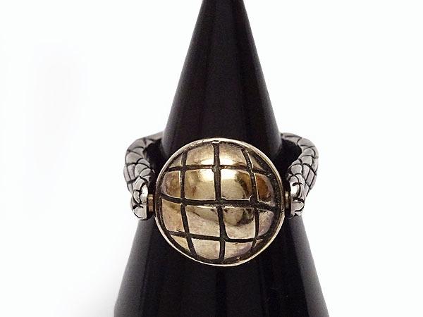 美品 ボッテガ ヴェネタ イントレチャート ボール シルバー リング 指輪 ゴールド シルバー925 AG925 167510_画像4