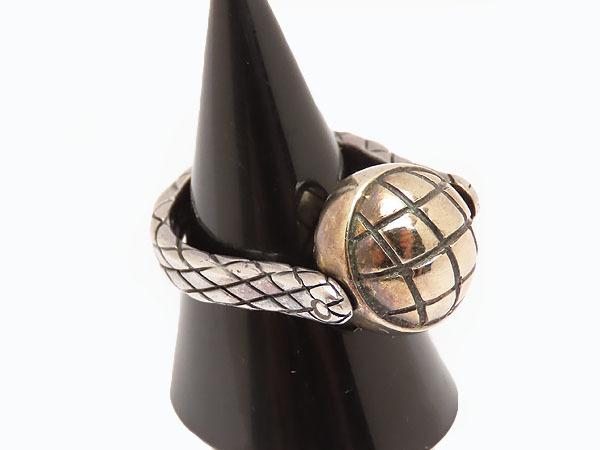 美品 ボッテガ ヴェネタ イントレチャート ボール シルバー リング 指輪 ゴールド シルバー925 AG925 167510_画像3