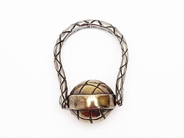 美品 ボッテガ ヴェネタ イントレチャート ボール シルバー リング 指輪 ゴールド シルバー925 AG925 167510_画像6