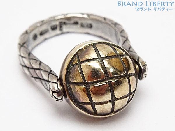 美品 ボッテガ ヴェネタ イントレチャート ボール シルバー リング 指輪 ゴールド シルバー925 AG925 167510_画像1