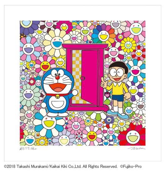 フルコンプ 5枚セット kaikaikiki 村上隆 × 藤子F不二雄 コラボ 版画 ドラえもん お花畑 どこでもドア シルクスクリーン_画像3