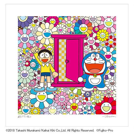 フルコンプ 5枚セット kaikaikiki 村上隆 × 藤子F不二雄 コラボ 版画 ドラえもん お花畑 どこでもドア シルクスクリーン_画像2