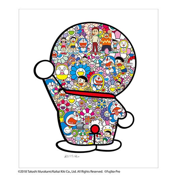 フルコンプ 5枚セット kaikaikiki 村上隆 × 藤子F不二雄 コラボ 版画 ドラえもん お花畑 どこでもドア シルクスクリーン_画像5