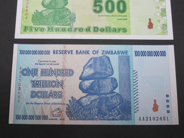 ジンバブエ ハイパーインフレ紙幣 100兆ドル+500ドル(旧500兆ドル)札 2枚セット 2009年 _画像3