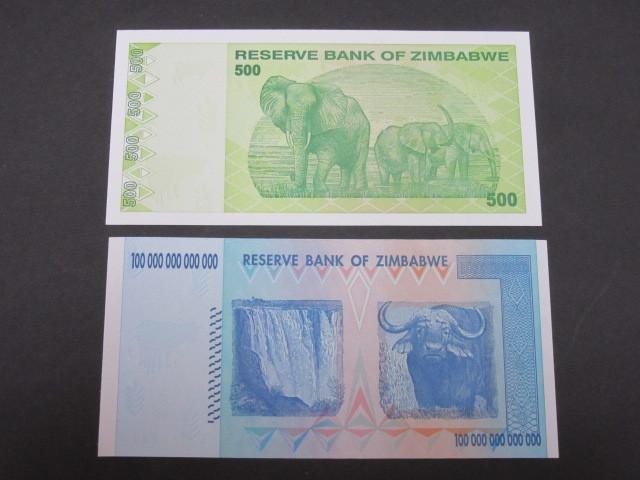ジンバブエ ハイパーインフレ紙幣 100兆ドル+500ドル(旧500兆ドル)札 2枚セット 2009年 _画像4