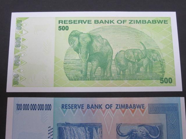 ジンバブエ ハイパーインフレ紙幣 100兆ドル+500ドル(旧500兆ドル)札 2枚セット 2009年 _画像5