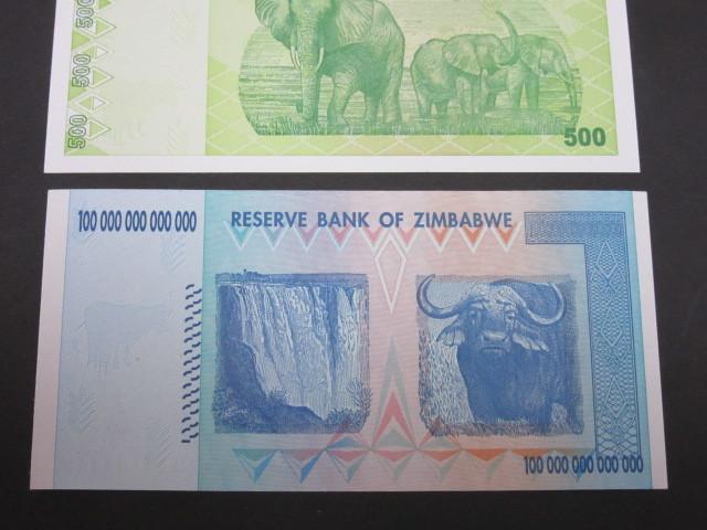 ジンバブエ ハイパーインフレ紙幣 100兆ドル+500ドル(旧500兆ドル)札 2枚セット 2009年 _画像6