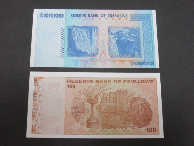 ジンバブエ ハイパーインフレ紙幣 100兆ドル+100ドル(旧100兆ドル)札 2枚セット 2009年(100兆ドル・・AA2102498,100ドル・・AA0478440)_画像2