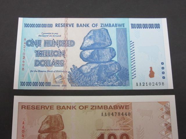ジンバブエ ハイパーインフレ紙幣 100兆ドル+100ドル(旧100兆ドル)札 2枚セット 2009年(100兆ドル・・AA2102498,100ドル・・AA0478440)_画像3