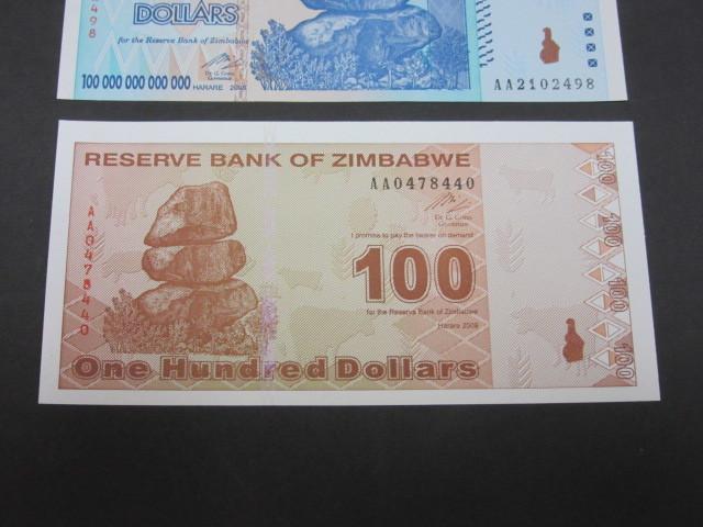 ジンバブエ ハイパーインフレ紙幣 100兆ドル+100ドル(旧100兆ドル)札 2枚セット 2009年(100兆ドル・・AA2102498,100ドル・・AA0478440)_画像4