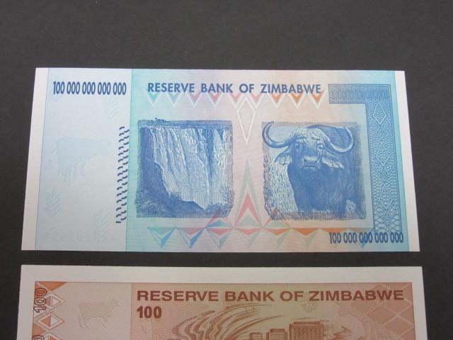 ジンバブエ ハイパーインフレ紙幣 100兆ドル+100ドル(旧100兆ドル)札 2枚セット 2009年(100兆ドル・・AA2102498,100ドル・・AA0478440)_画像5