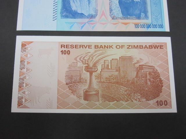 ジンバブエ ハイパーインフレ紙幣 100兆ドル+100ドル(旧100兆ドル)札 2枚セット 2009年(100兆ドル・・AA2102498,100ドル・・AA0478440)_画像6