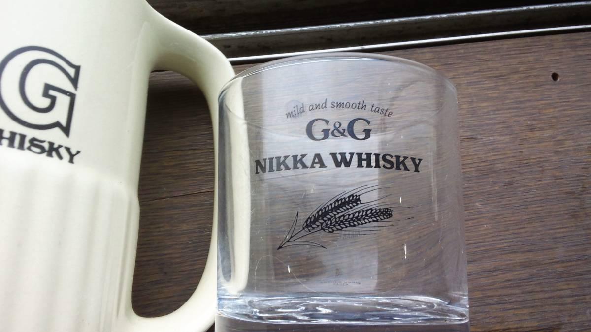 昭和レトロ ニッカウヰスキー・ニッカウイスキー G&G・水差し・ロックグラス_画像2