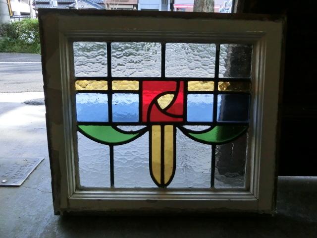 ステンドグラス 英国アンティーク 11S-048 バラ柄 四角 ドア ガラスインテリア イギリスアンティーク 送料無料