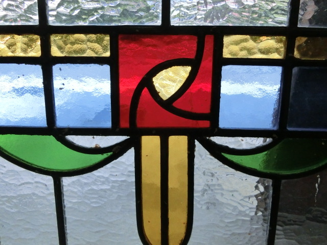ステンドグラス 英国アンティーク 11S-048 バラ柄 四角 ドア ガラスインテリア イギリスアンティーク 送料無料_画像2