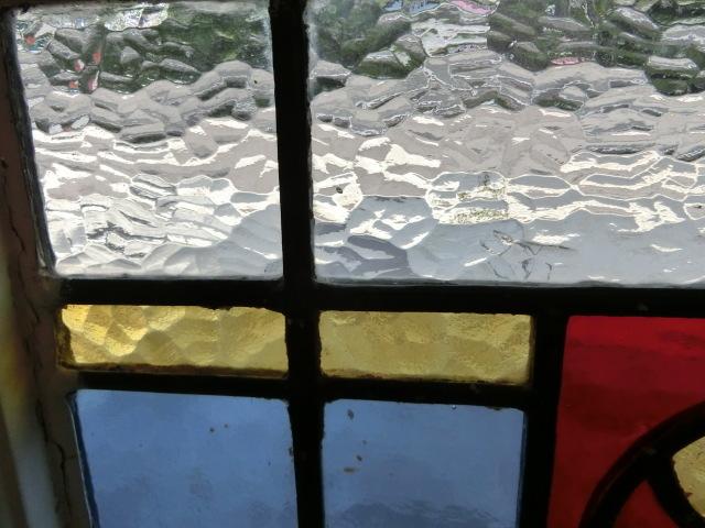 ステンドグラス 英国アンティーク 11S-048 バラ柄 四角 ドア ガラスインテリア イギリスアンティーク 送料無料_画像3
