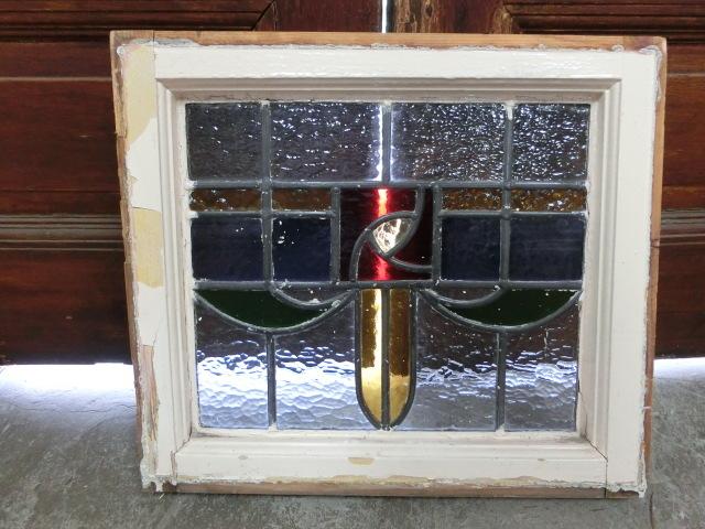 ステンドグラス 英国アンティーク 11S-048 バラ柄 四角 ドア ガラスインテリア イギリスアンティーク 送料無料_画像5