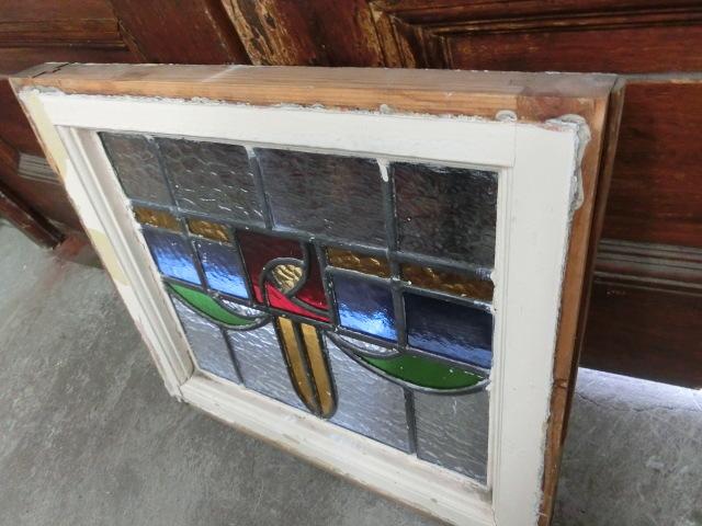 ステンドグラス 英国アンティーク 11S-048 バラ柄 四角 ドア ガラスインテリア イギリスアンティーク 送料無料_画像7