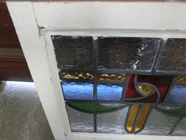 ステンドグラス 英国アンティーク 11S-048 バラ柄 四角 ドア ガラスインテリア イギリスアンティーク 送料無料_画像9