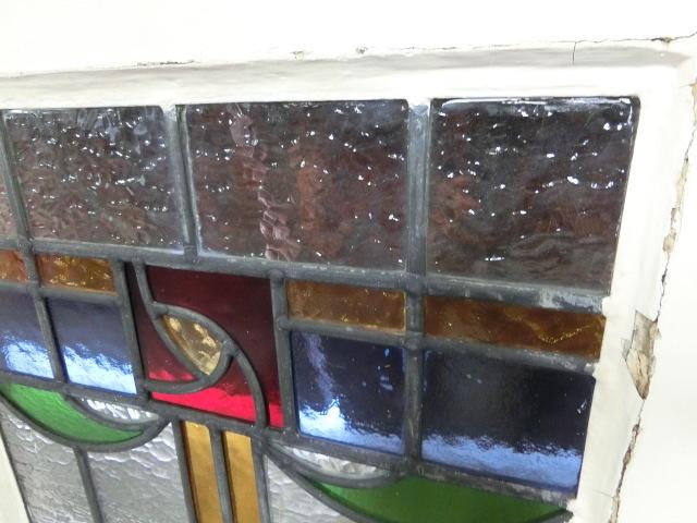 ステンドグラス 英国アンティーク 11S-048 バラ柄 四角 ドア ガラスインテリア イギリスアンティーク 送料無料_画像10