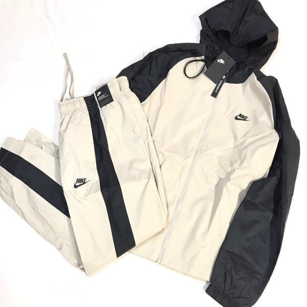 NIKE ナイキ ウーブントラックスーツ パンツ 上下セット ベージュ黒 XL 928120-013