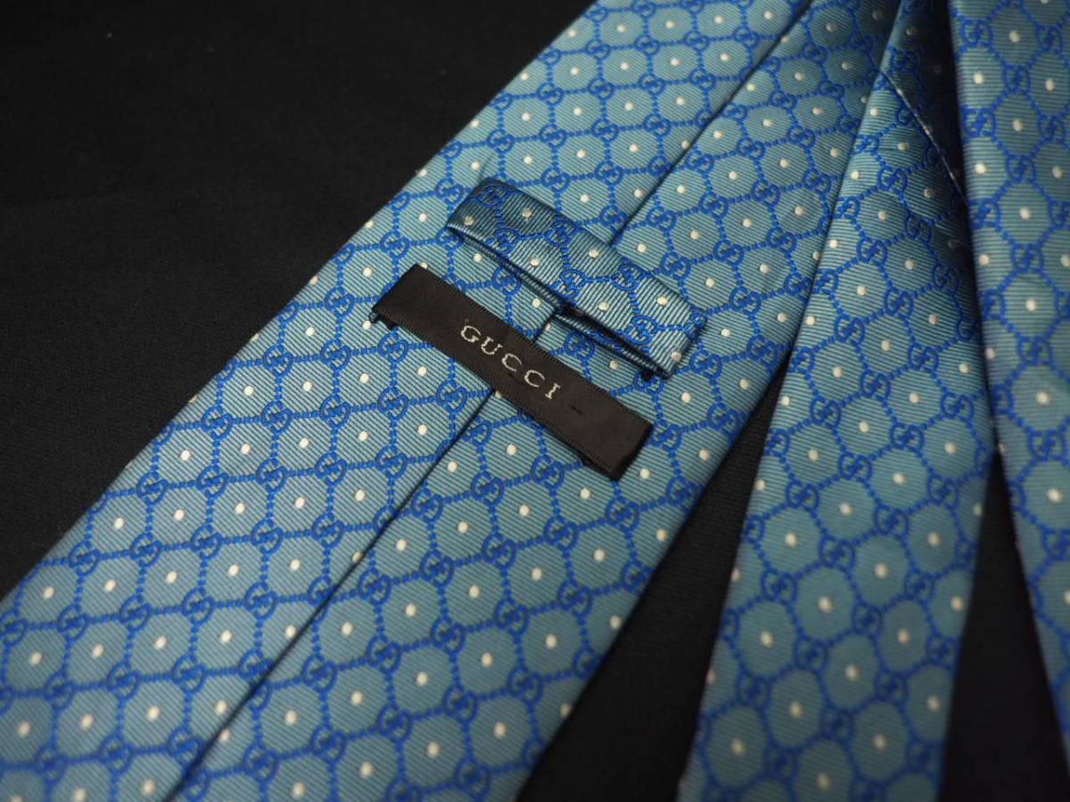 【Gucci】グッチ ITALY イタリア製 アイスブルー ホワイト 【G】ロゴ総柄 ドット USED オールド ブランドネクタイ SILK100% シルク_画像6