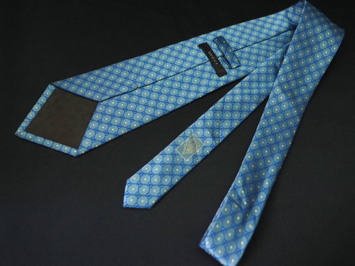 【Gucci】グッチ ITALY イタリア製 アイスブルー ホワイト 【G】ロゴ総柄 ドット USED オールド ブランドネクタイ SILK100% シルク_画像5