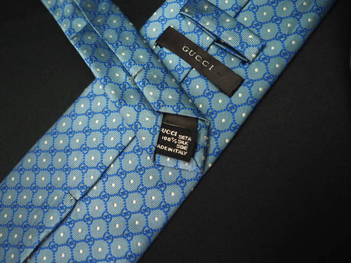 【Gucci】グッチ ITALY イタリア製 アイスブルー ホワイト 【G】ロゴ総柄 ドット USED オールド ブランドネクタイ SILK100% シルク_画像9