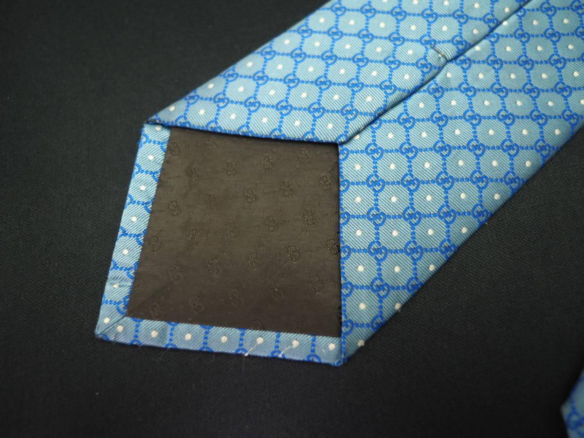 【Gucci】グッチ ITALY イタリア製 アイスブルー ホワイト 【G】ロゴ総柄 ドット USED オールド ブランドネクタイ SILK100% シルク_画像8