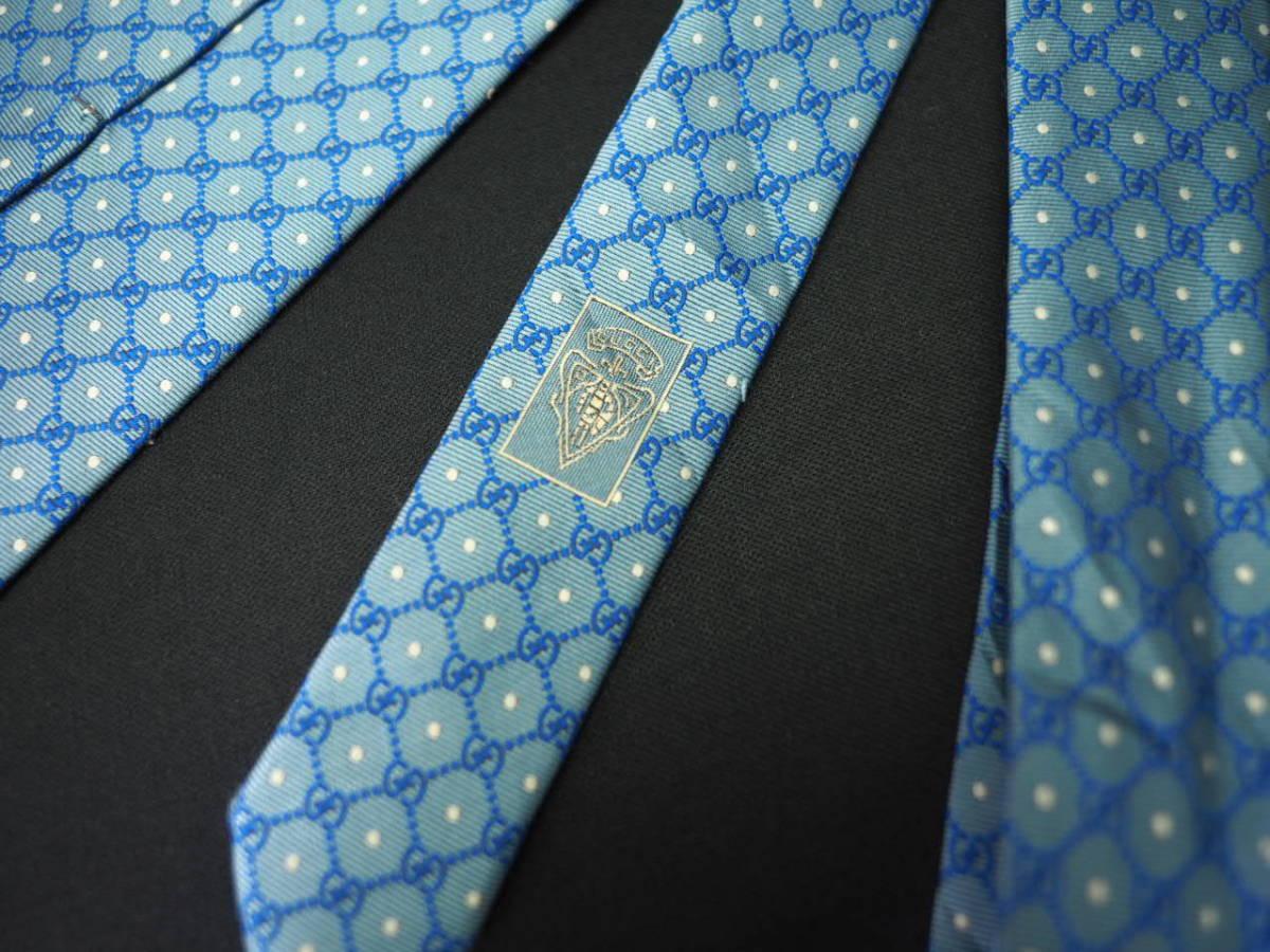 【Gucci】グッチ ITALY イタリア製 アイスブルー ホワイト 【G】ロゴ総柄 ドット USED オールド ブランドネクタイ SILK100% シルク_画像7