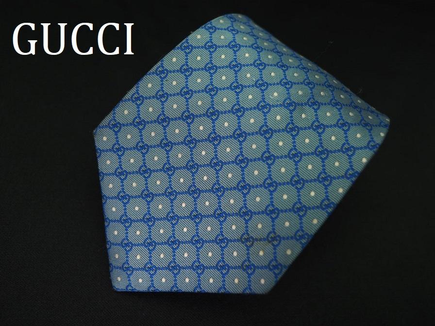 【Gucci】グッチ ITALY イタリア製 アイスブルー ホワイト 【G】ロゴ総柄 ドット USED オールド ブランドネクタイ SILK100% シルク