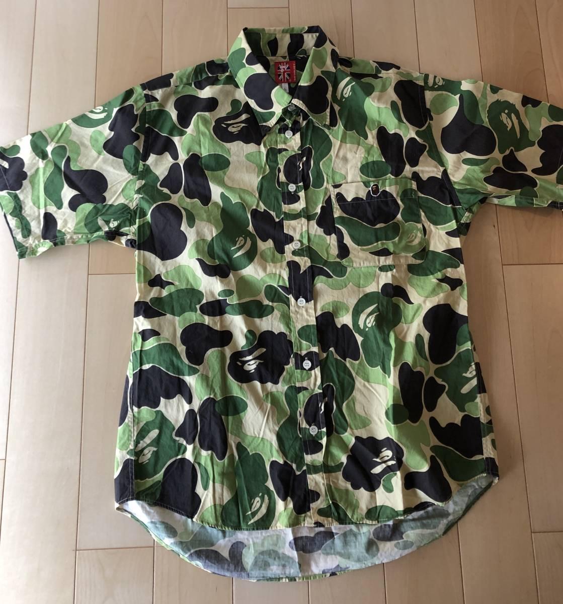 A BATHING APE/ア ベイシングエイプ サルカモ 猿 迷彩柄 半袖シャツ サイズL