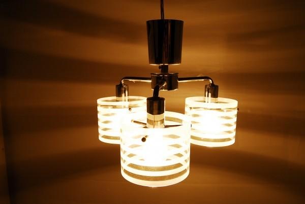 8764 3灯 シャンデリア インターフォルム LT-2073ST 天井照明 ガラスシェード