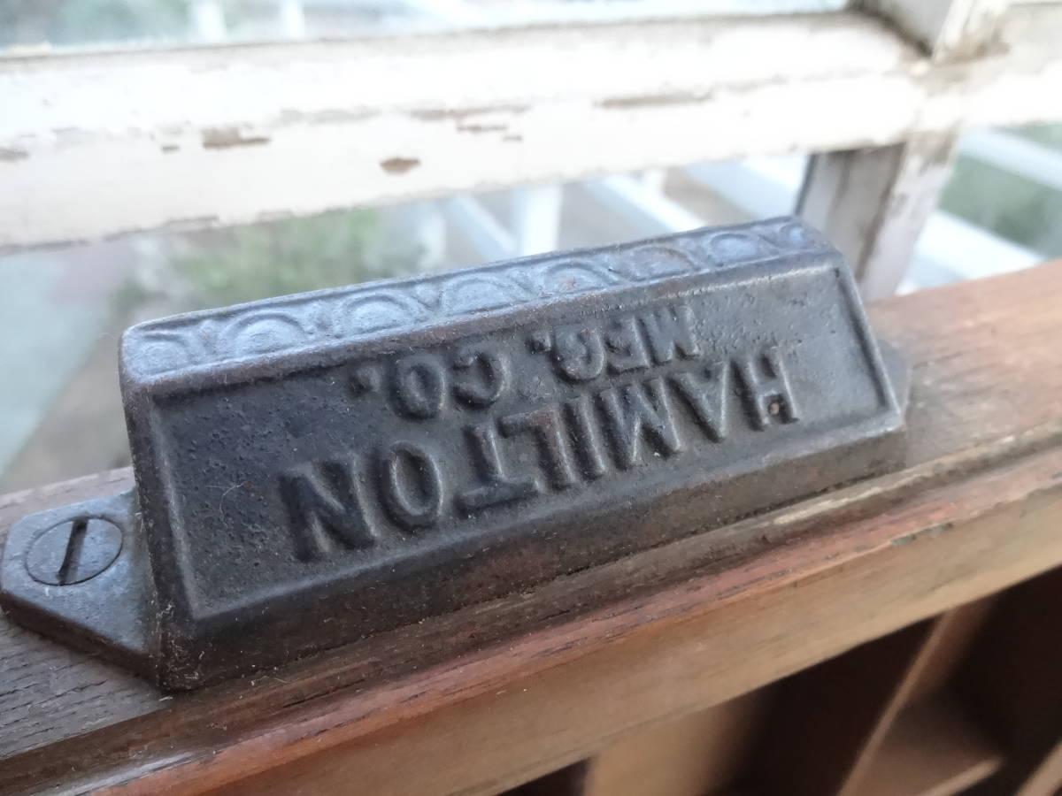 ビンテージ プリンタートレイ HAMILTON 木箱 什器 メタルスタンプ活字入れにも!_画像3