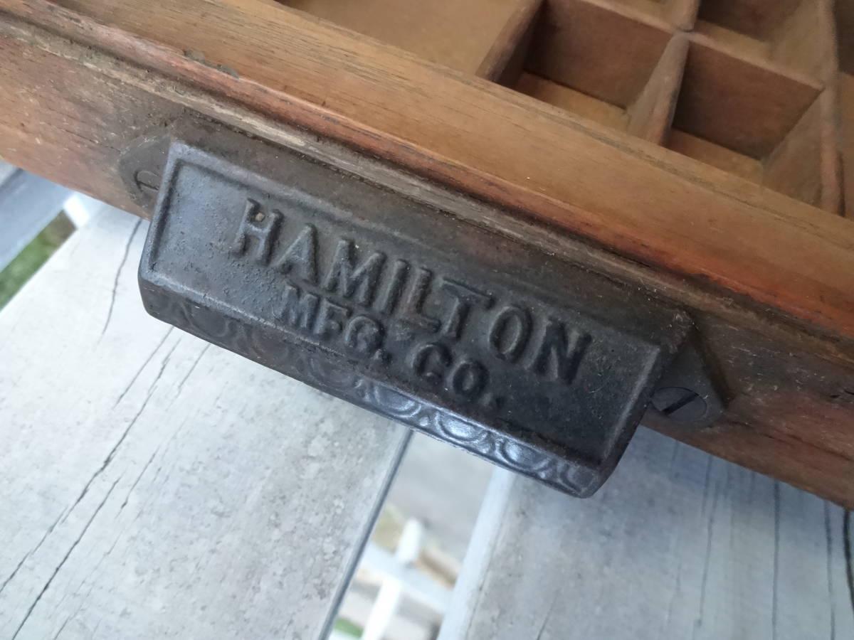 ビンテージ プリンタートレイ HAMILTON 木箱 什器 メタルスタンプ活字入れにも!_画像6