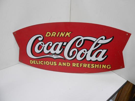 レトロ CocaCola/コカコーラ 看板 DRINK 片面 金属製 ビンテージ リボン型 店舗販促品 約 幅69×高32.5cm 札幌発_画像1