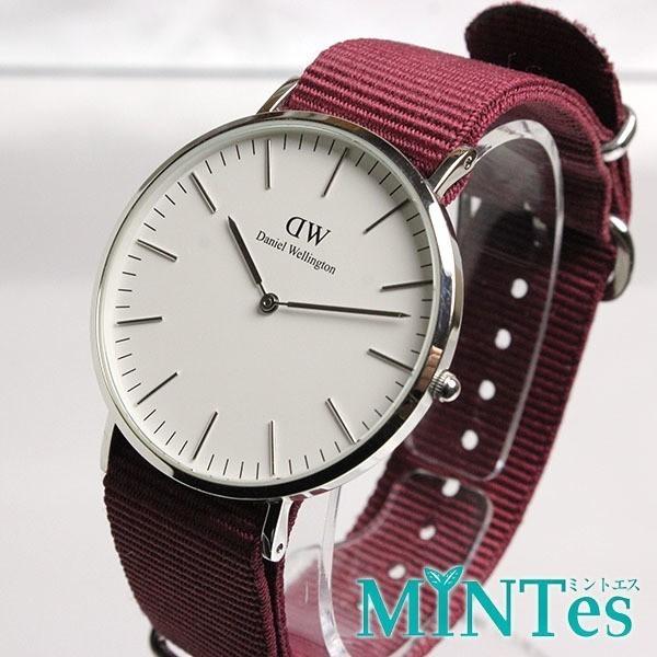 Daniel Wellington ダニエルウェリントン クラシック メンズ 腕時計 クォーツ シンプル 男性 白文字盤 エンジ 人気 箱付き_画像1