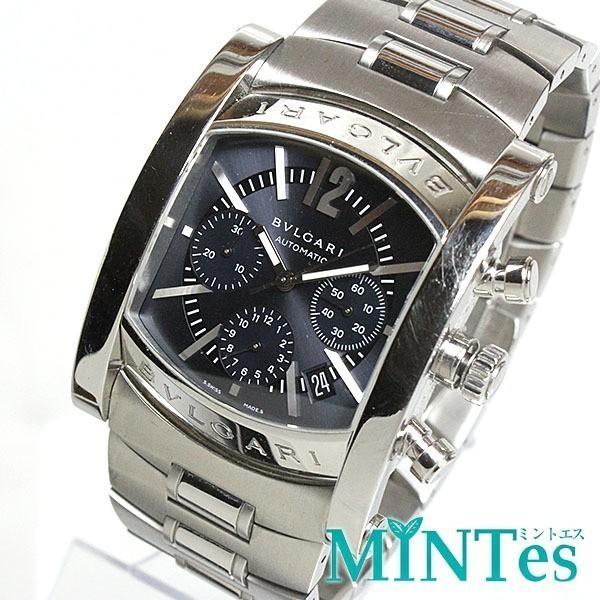 BVLGARI ブルガリ アショーマ クロノグラフ メンズ腕時計 オートマチック AA48SCH グレー文字盤 シルバー 定番 人気_画像1