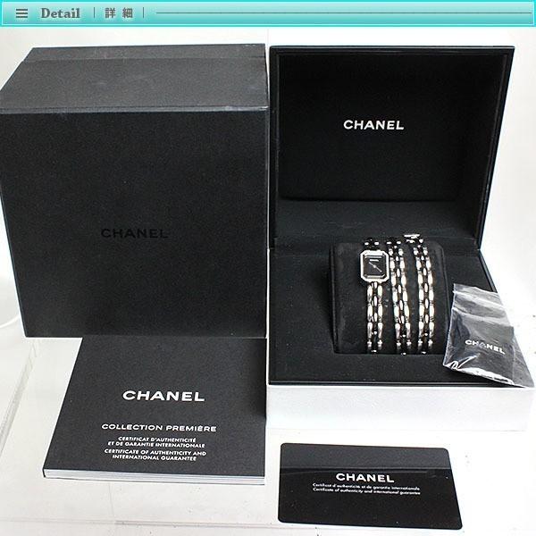 CHANEL シャネル プルミエール トリプルブレス レディース腕時計 ダイヤベゼル クォーツ H3058 黒文字盤_画像4