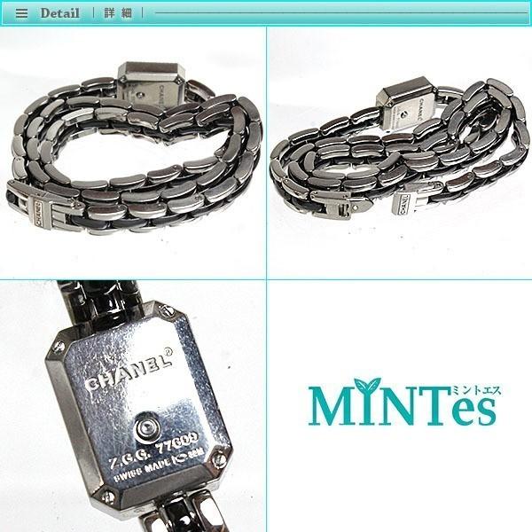 CHANEL シャネル プルミエール トリプルブレス レディース腕時計 ダイヤベゼル クォーツ H3058 黒文字盤_画像3