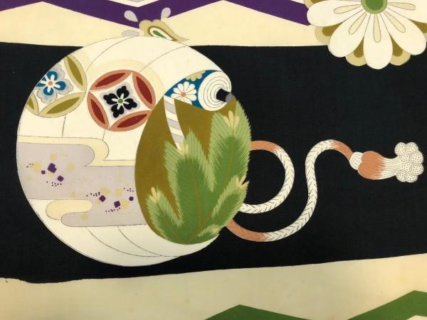 レア♪ 新古品 反物 平絹 男児着物 約11.6m 黒白 横縞 鶴 巻物 花柄 植物柄 大正ロマン レトロ ハンドメイド リメイク 和裁 材料 古布 生地_画像4