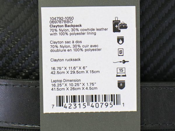 TUMI トゥミ 69787 カーボン×ナイロン Clayton Backpack ビジネス リュックサック バックパック PC収納可能 黒 ブラック BLACK / 513_画像8