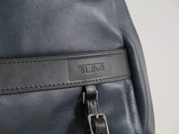 TUMI トゥミ 69780 本革 総レザー Clayton Backpack ビジネス リュックサック バックパック PC収納可能 紺・黒 NAVY BLACK / 512_画像7