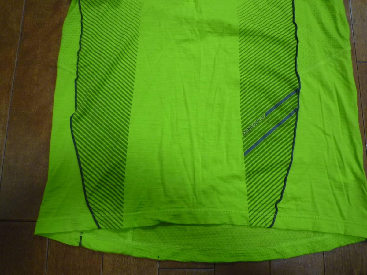 ICEBREAKER(アイスブレーカー)MERINO GT(メリノウール)ハーフジップ・半袖シャツ☆イエローグリーン(黄緑)☆S_画像4