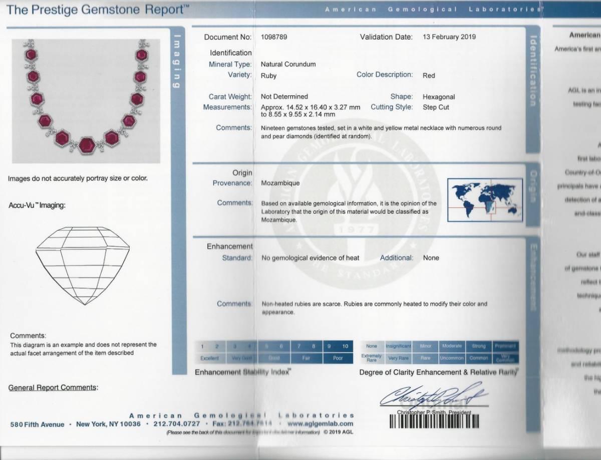 ◆豪華◆希少◆《AGL鑑定書付》【60.0ct 天然 非加熱 ルビー】&【25.0ct ダイヤモンド】《18金ホワイト&イエローゴールド 18K》ネックレス_画像2