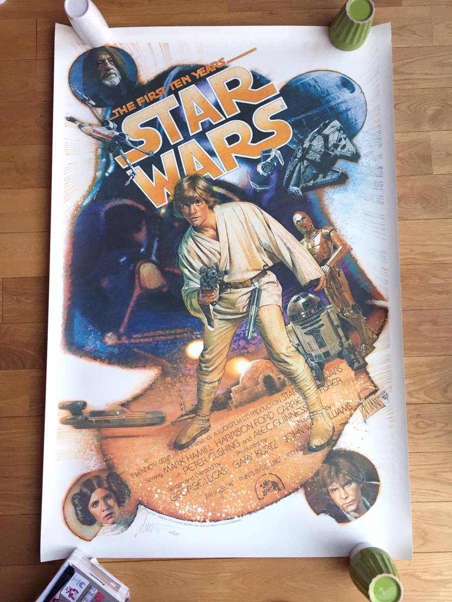 当時もの・限定 サイン入り STAR WARS 10周年 US版オリジナルポスター Rise of Skywalker 10th Anniversary スター・ウォーズ